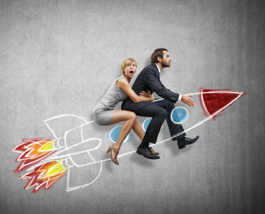 Businessman And Young Woman Flying With Rocket Small