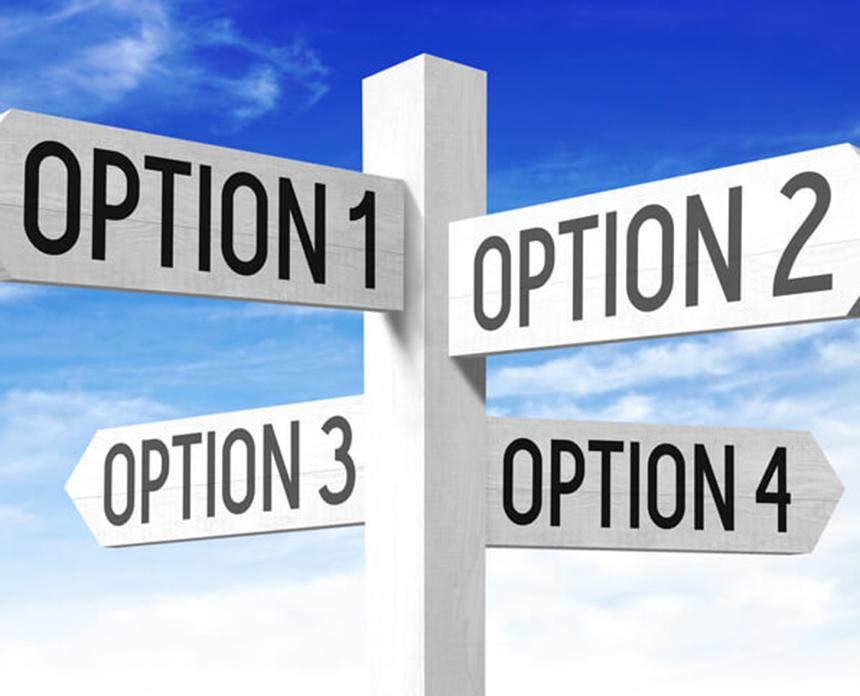 Options Concept Wooden Signpost X