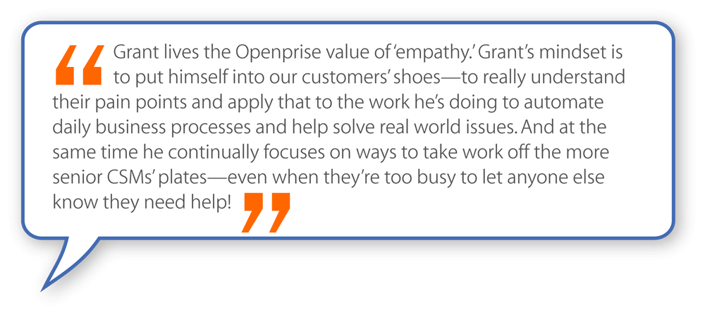 quote about Grant Saechao, customer success associate